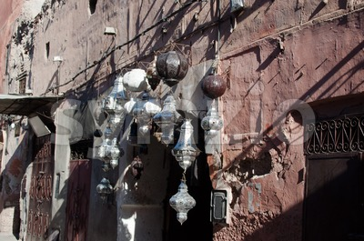 Metal lamps in Moroccan market Stock Photo