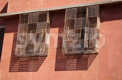Moroccan Barred Windows Stock Photo