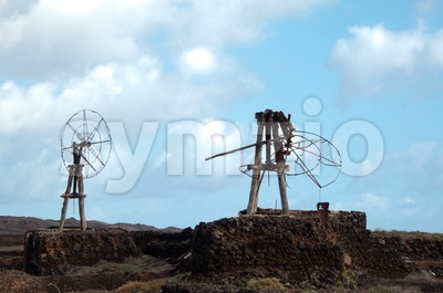 Old Windmills on Lanzarote Stock Photo
