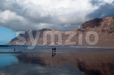 Beautiful Sunset On Famara Beach, Lanzarote Stock Photo