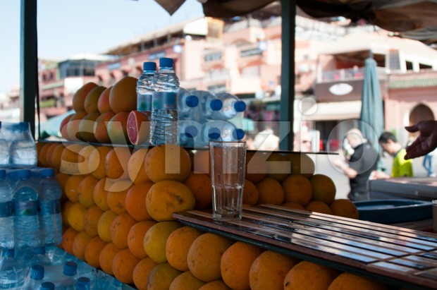 Oranges on display in Jemaa el Fna, Marrakech Stock Photo