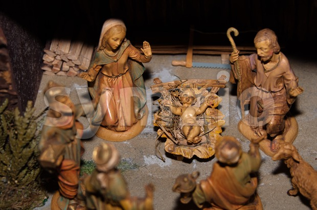 Christmas nativity scene with Mary, Joseph, baby Jesus and the three wise men