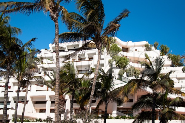 Hotel on the beach Stock Photo