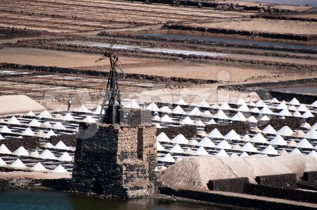 Salt piles on a saline in Janubio on Lanzarote Island, Spain