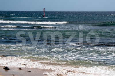 Windsurfer on Lanzarote Stock Photo