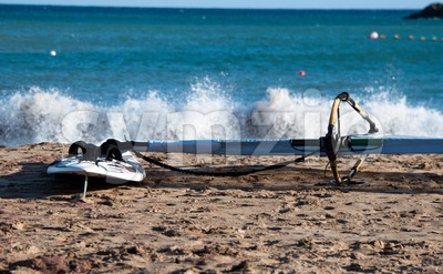 Windsurf Board On The Beach Stock Photo