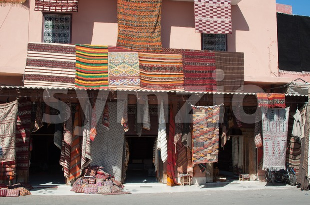 Moroccan building with Berber carpets Stock Photo