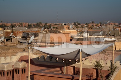 Roofs of Marrakech, Morocco Stock Photo