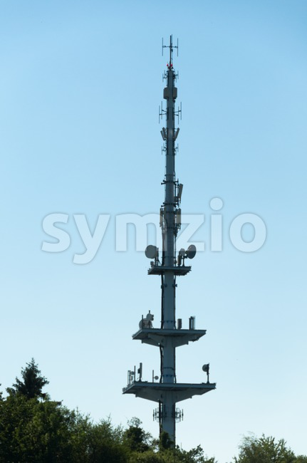 Communication tower consisting of various dishes and antennas