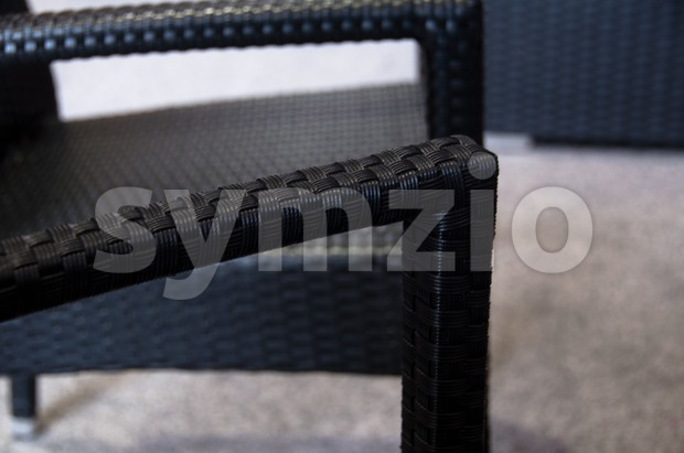Modern polyrattan garden furniture Stock Photo