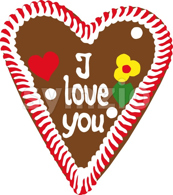 Gingerbread Oktoberfest heart saying I love you