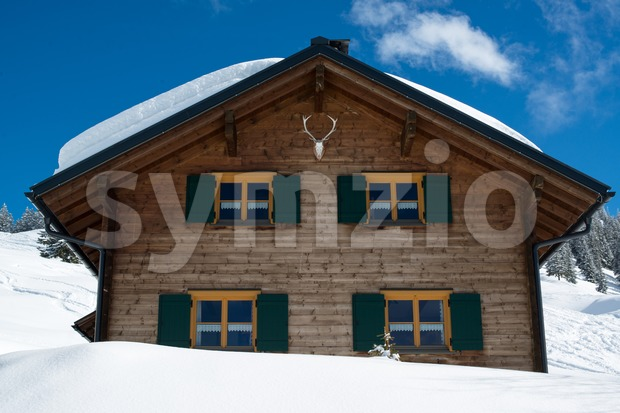 Beautiful skiing hut Stock Photo