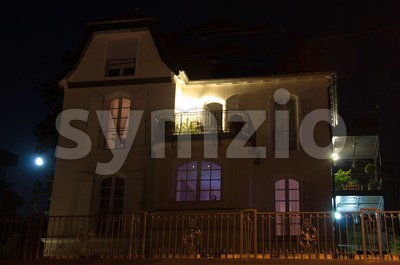 Luxury House At Night Stock Photo