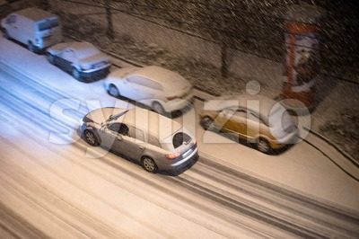 Cars in snow Stock Photo