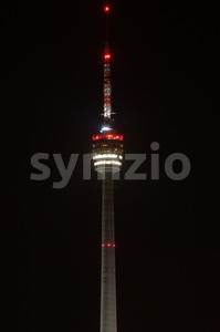 Stuttgart TV Tower at night Stock Photo