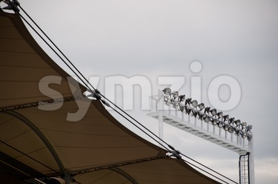 Roof construction of a soccer stadium with lights Stock Photo