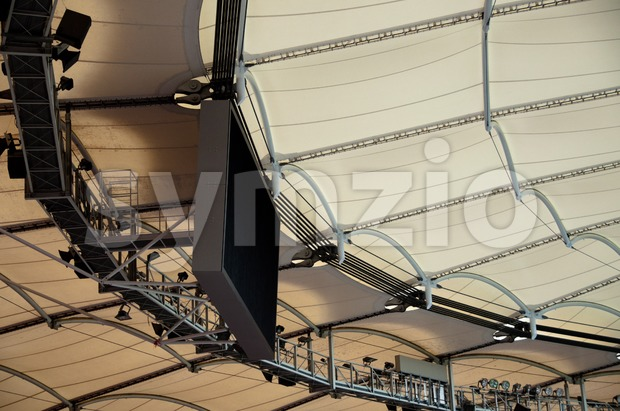 Roof construction of a soccer stadium Stock Photo